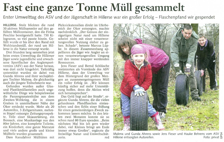 1. ASV Umwelttag Gifhorner Rundschau vom 14.03.2012